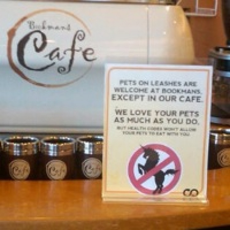 Pets welcome at bookstore, but not in its café
