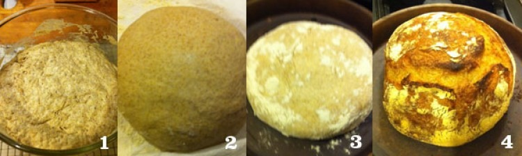 1. Dough after rising 12 hours. 2. Dough after the second rise. 3. Loaf flipped