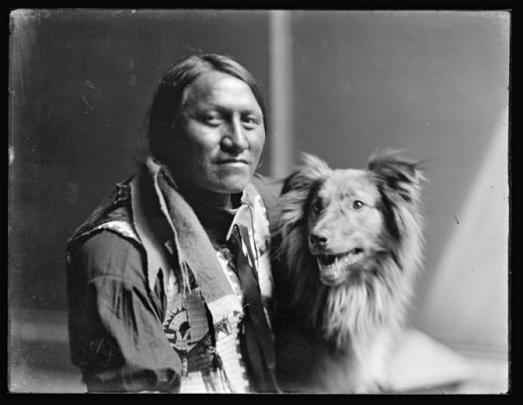 Charging Thunder, American Indian photograph from glass negative. ca. 1900