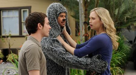 Wilfred's Elijah Wood, Jason Gann, Fiona Gubelmann.